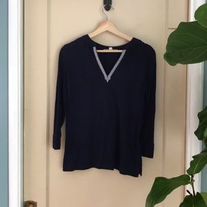 Ann Taylor Loft 3/4 sleeve embroidered navy top